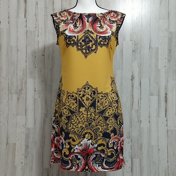 Aryeh Dresses & Skirts - Aryeh Gold Floral Sleeveless Dress